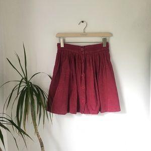 Vintage Raspberry Corduroy Button Circle Skirt